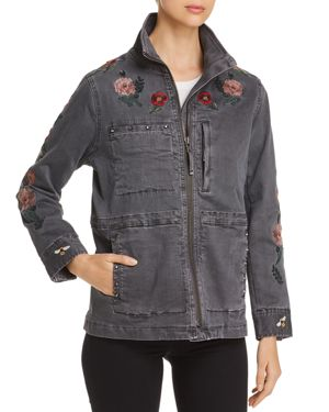 BILLY T Embroidered Twill Utility Jacket in Dark Gray W/ Embroidery