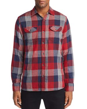 FLAG & ANTHEM Benton Double-Faced Plaid Regular Fit Shirt in Red/Gray