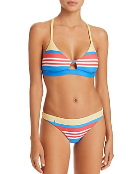 Ralph Lauren - Engineered Stripe Racer Bra Bikini Top & Engineered Stripe Retro Bikini Bottom