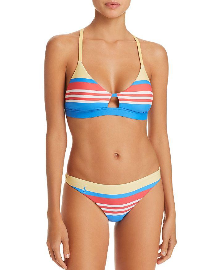 Ralph Lauren - Engineered Stripe Racer Bra Bikini Top & Engineered Stripe Retro Bikini Bottom