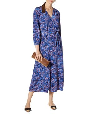 L.k.Bennett Ellora Floral-Print Cropped Silk Jumpsuit
