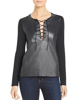 Majestic Filatures - Leather-Front Lace-Up Tee