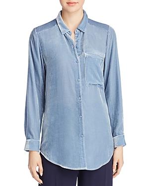 a025bad5d5bc7 Eileen Fisher Velvet Long-Sleeve Pocket Shirt