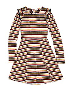 AQUA - Girls' Ribbed & Striped Skater Dress, Big Kid - 100% Exclusive