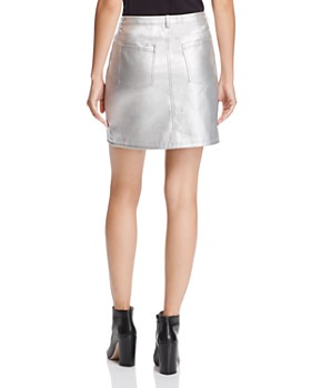 Rebecca Minkoff - Myrah Metallic Faux-Leather Mini Skirt