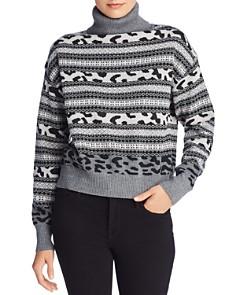 AQUA - Fair Isle Animal Knit Turtleneck Sweater - 100% Exclusive