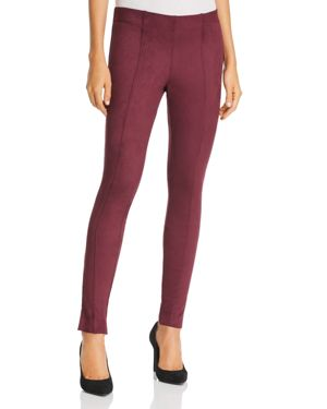Hue Zeza B by Hue Side-Slit Faux Suede Leggings