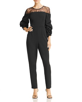 Adrianna Papell - Lace-Inset Crepe Jumpsuit