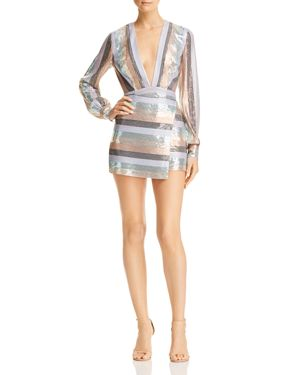 SAU LEE Sienna Sequined Mini Dress in Stripe