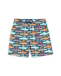 Vilebrequin - Boys' Mykonos Boat-Print Swim Trunks - Little Kid, Big Kid