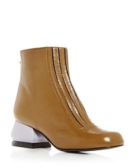 Marni - Women's Leather Sculpted Block-Heel Booties