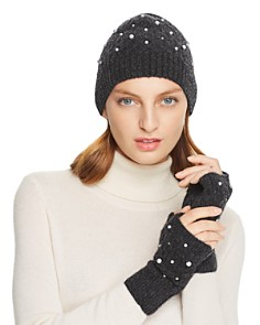 Minnie Rose - Embellished Cable-Knit Fingerless Gloves