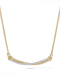 David Yurman - Crossover Bar Necklace in 18K Yellow Gold with Diamonds