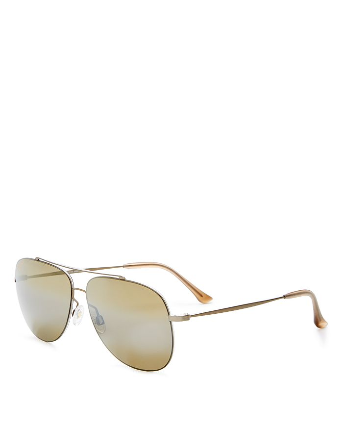 4b5c4e1da1 Maui Jim - Unisex Cinder Cone Polarized Brow Bar Aviator Sunglasses, 58mm