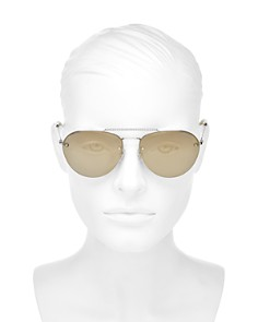 Miu Miu - Women's Mirrored Brow Bar Sunglasses, 59mm
