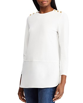 Ralph Lauren - Button Shoulder Mixed Media Tunic
