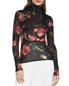 BCBGMAXAZRIA - Floral-Print Turtleneck Top