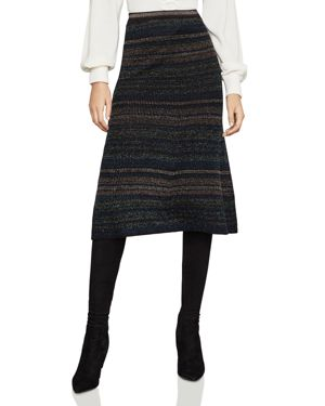 Bcbgmaxazria Metallic Striped Rib-Knit Skirt