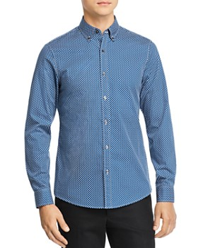 Michael Kors - Kit Geometric-Print Stretch Slim Fit Button-Down Shirt