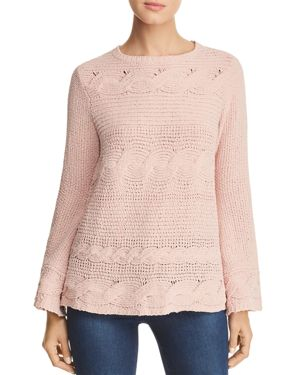 HEATHER B Chenille Cable-Knit Sweater in Blush