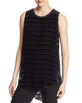 Go by Go Silk - Layered Velvet Stripe Tank