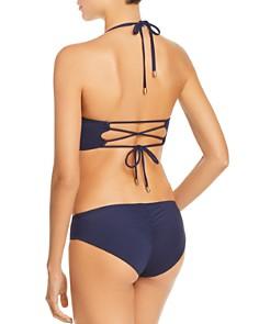 VINCE CAMUTO - Faux Wrap Bikini Top & Shirred Bikini Bottom