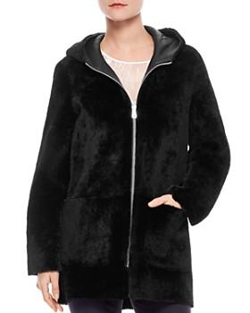 Sandro - Aconit Hooded Shearling Coat