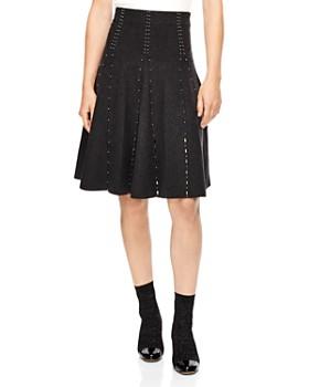Sandro - Luc Embellished A-Line Eyelet Skirt