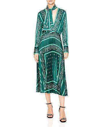 Sandro - Cactus Bandana Print Pleated Midi Dress