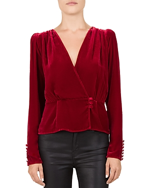 The Kooples CROSSOVER RUCHED VELVET TOP