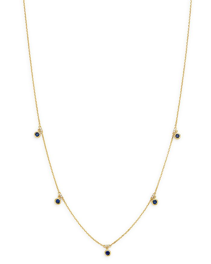 """Bloomingdale's - Blue Sapphhire Bezel Set Station Necklace in 14K Yellow Gold, 18"""" - 100% Exclusive"""