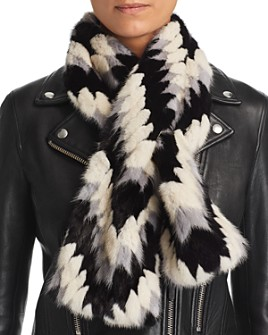 Maximilian Furs - Patterned Mink Fur Scarf - 100% Exclusive