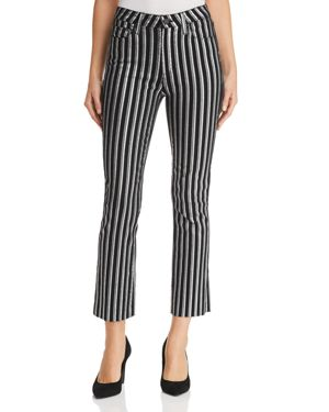 Colette Crop Flare Striped Jeans With Raw Hem in Silver Stripe