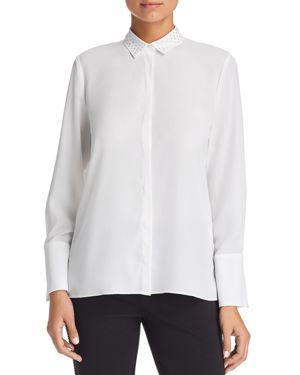 LE GALI Frances Rhinestone-Collar Blouse - 100% Exclusive in White