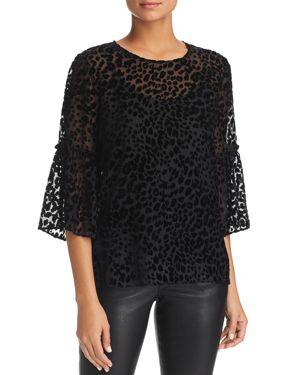 LE GALI Freida Leopard Burnout-Velvet Top - 100% Exclusive in Black