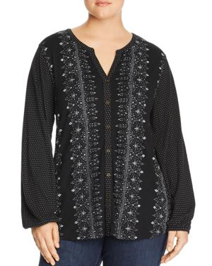 Lucky Brand Plus Mixed Print Button-Down Top