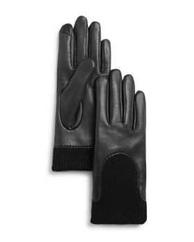 Fownes - Knit-Cuff Leather Tech Gloves