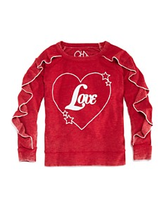 CHASER - Girls' Vintage-Wash Ruffled Love Sweatshirt - Little Kid, Big Kid