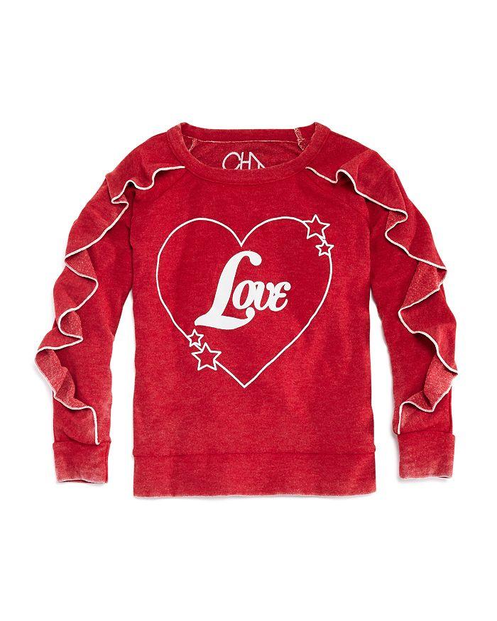 CHASER - Girls' Vintage-Wash Ruffled Love Sweatshirt - Little Kid, Big Kid
