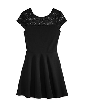 AQUA - Girls' Textured Contrast Lace Dress, Big Kid - 100% Exclusive