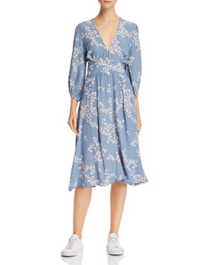 FAITHFULL THE BRAND Chloe Tie-Detailed Floral-Print Crepe Midi Dress in Light Blue