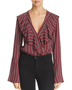 Band of Gypsies - Audrey Striped Bell-Sleeve Bodysuit
