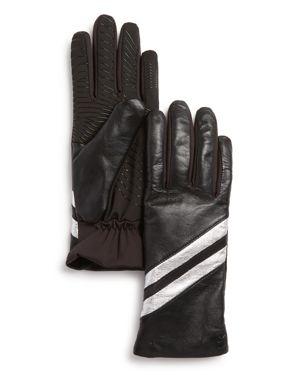U/R Metallic-Stripe Gloves in Black/Silver