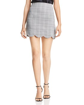 AQUA - Scalloped Plaid Skirt - 100% Exclusive