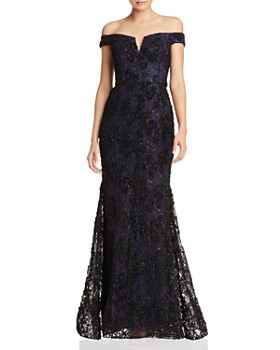 AQUA - Off-the-Shoulder Embellished Lace Gown - 100% Exclusive