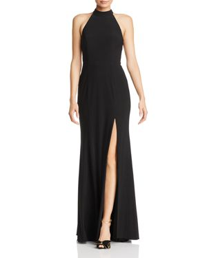 AVERY G Cutout Mock-Neck Gown in Black/Nude