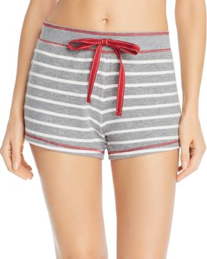 PJ SALVAGE On Holiday Striped Lounge Shorts in Gray/White