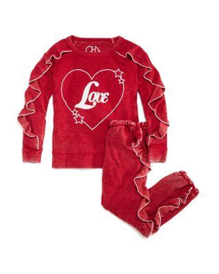 Girls' Vintage-Wash Ruffled Love Sweatshirt - Little Kid, Big Kid