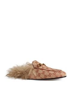 Gucci - Women's Princetown GG Canvas & Lamb Fur Mules