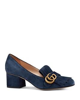 Gucci - Women's Marmont Suede Mid-Heel Pumps